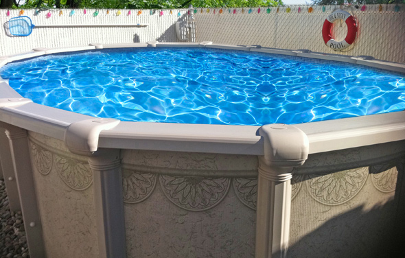 A pool with a unibead liner not showing on the outside.