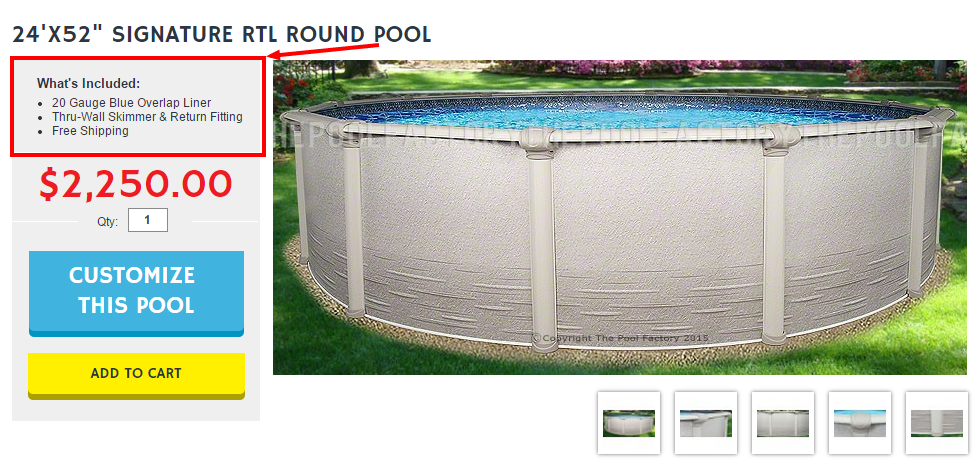 Included with your pool purchase